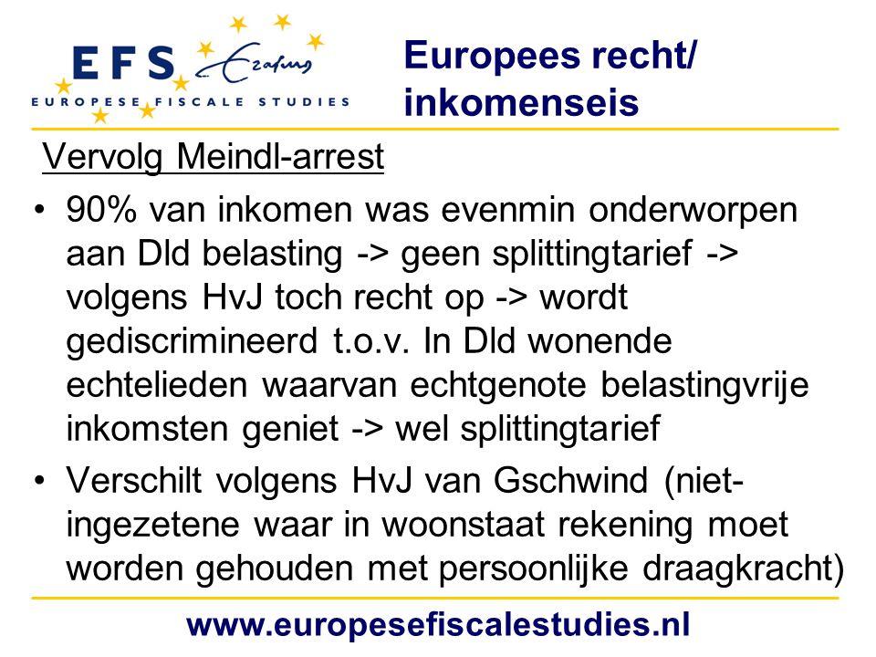 Europees recht/ inkomenseis Vervolg Meindl-arrest 90% van inkomen was evenmin onderworpen aan Dld belasting -> geen splittingtarief -> volgens HvJ toch recht op -> wordt gediscrimineerd t.o.v.