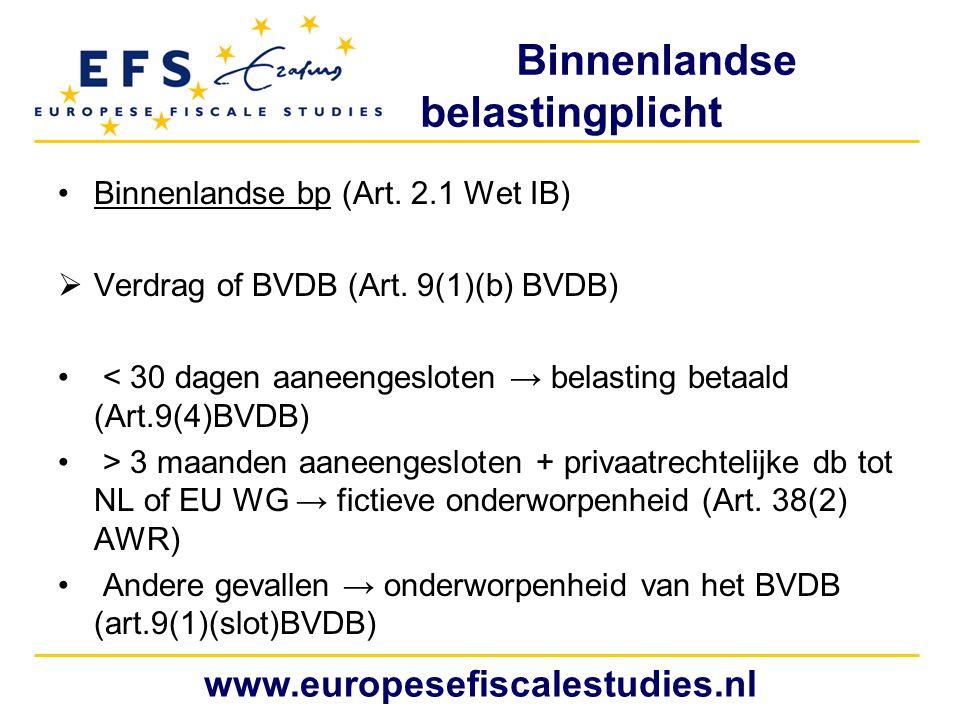 Binnenlandse belastingplicht Binnenlandse bp (Art. 2.1 Wet IB)  Verdrag of BVDB (Art. 9(1)(b) BVDB) < 30 dagen aaneengesloten → belasting betaald (Ar
