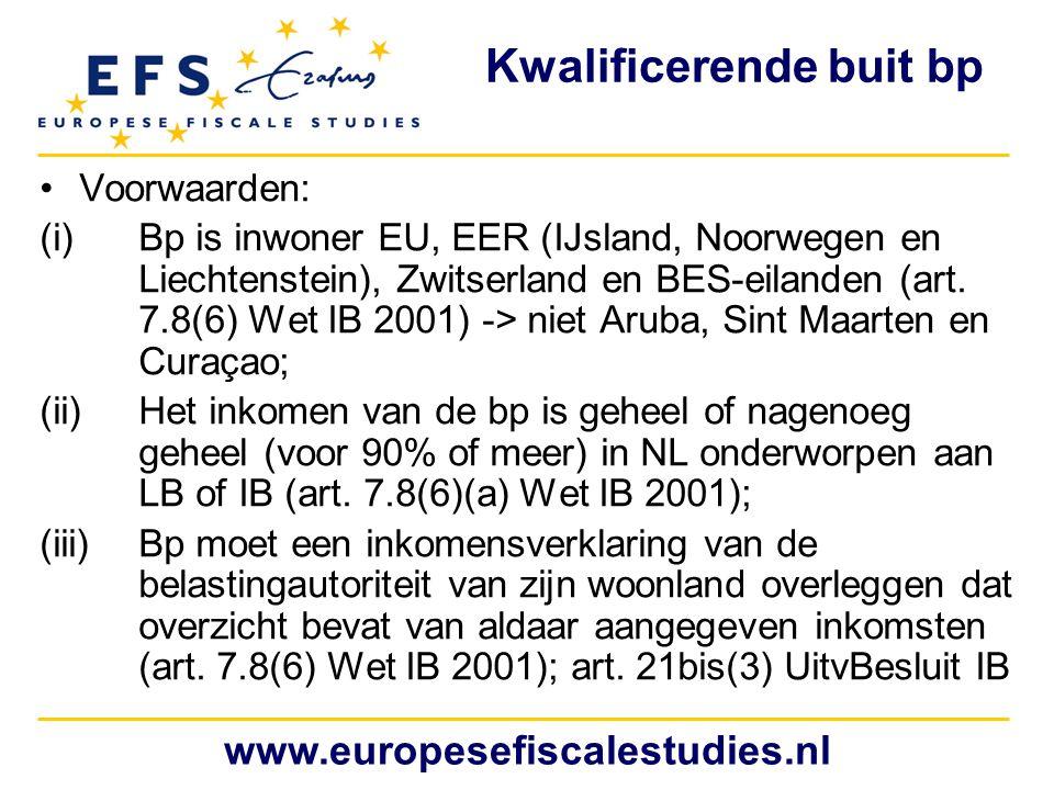 Kwalificerende buit bp Voorwaarden: (i)Bp is inwoner EU, EER (IJsland, Noorwegen en Liechtenstein), Zwitserland en BES-eilanden (art. 7.8(6) Wet IB 20