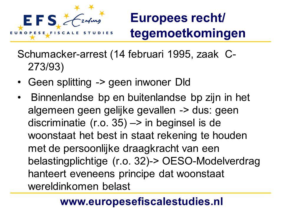 Europees recht/ tegemoetkomingen Schumacker-arrest (14 februari 1995, zaak C- 273/93) Geen splitting -> geen inwoner Dld Binnenlandse bp en buitenlandse bp zijn in het algemeen geen gelijke gevallen -> dus: geen discriminatie (r.o.