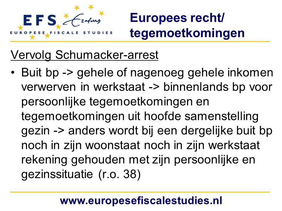 Europees recht/ tegemoetkomingen Vervolg Schumacker-arrest Buit bp -> gehele of nagenoeg gehele inkomen verwerven in werkstaat -> binnenlands bp voor