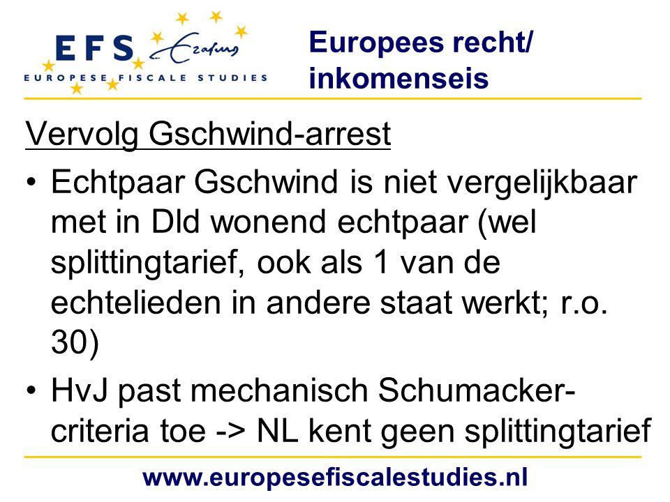 Europees recht/ inkomenseis Meindl-arrest (25 januari 2007, zaak C-328/05) Betrof art.