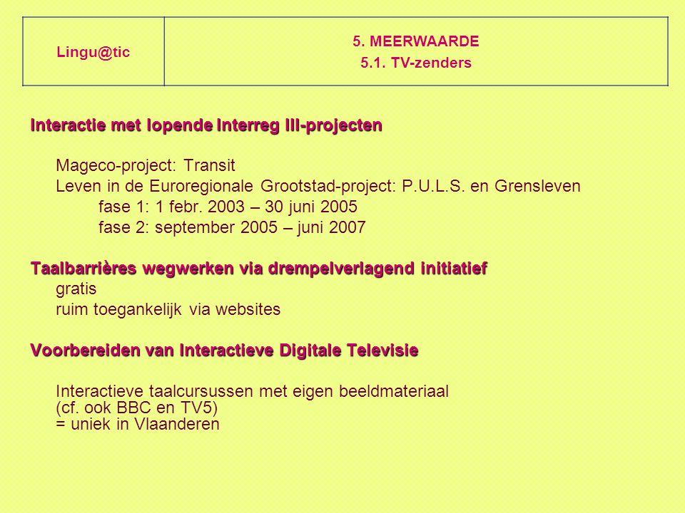 Interactie met lopende Interreg III-projecten Mageco-project: Transit Leven in de Euroregionale Grootstad-project: P.U.L.S.