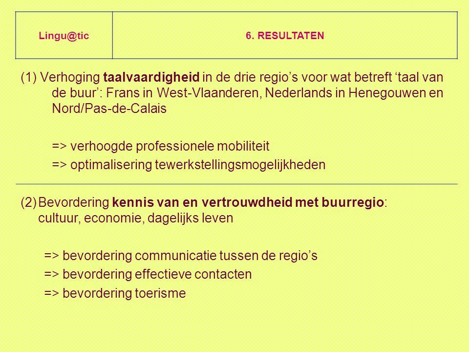 (1) Verhoging taalvaardigheid in de drie regio's voor wat betreft 'taal van de buur': Frans in West-Vlaanderen, Nederlands in Henegouwen en Nord/Pas-de-Calais => verhoogde professionele mobiliteit => optimalisering tewerkstellingsmogelijkheden Lingu@tic6.