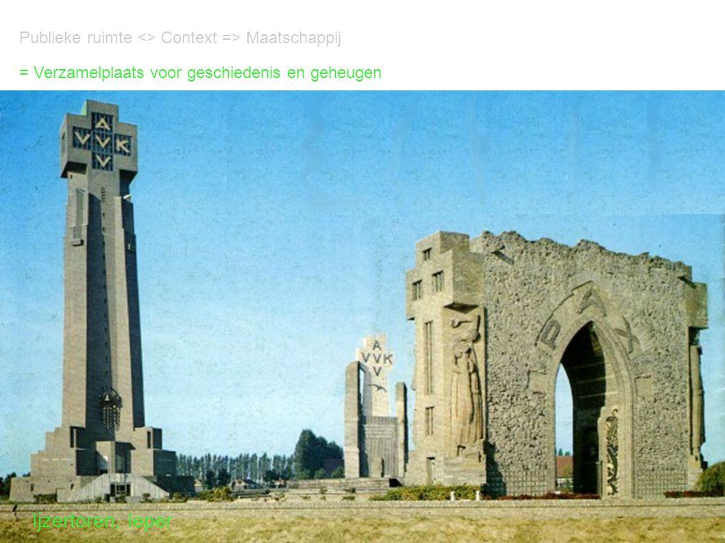 Publieke ruimte <> Context => Maatschappij = Verzamelplaats voor geschiedenis en geheugen Ijzertoren, Ieper