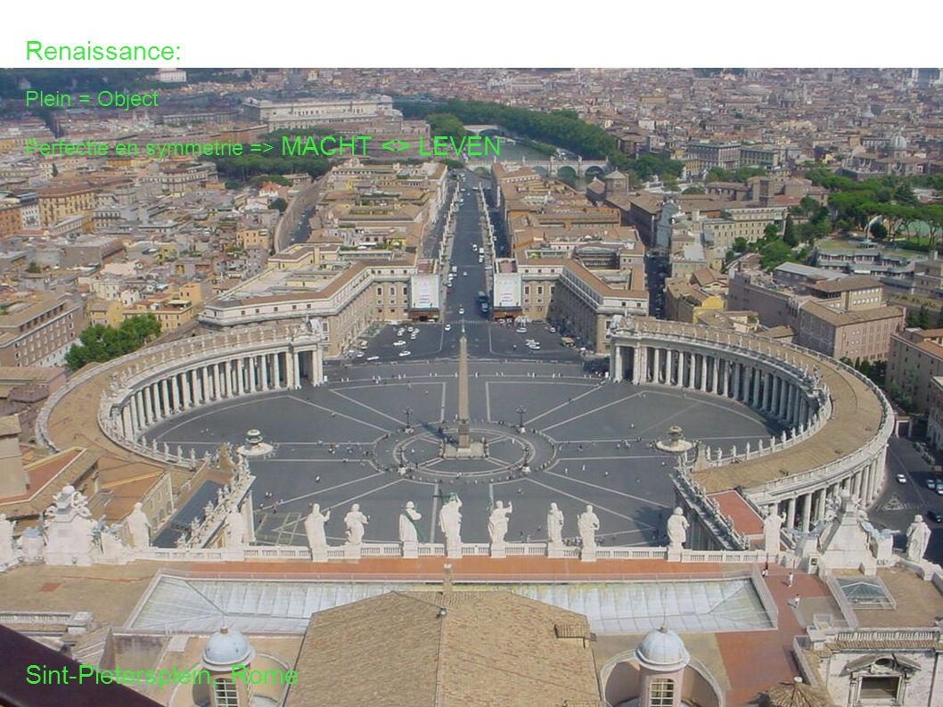 Renaissance: Plein = Object Perfectie en symmetrie => MACHT <> LEVEN Sint-Pietersplein, Rome