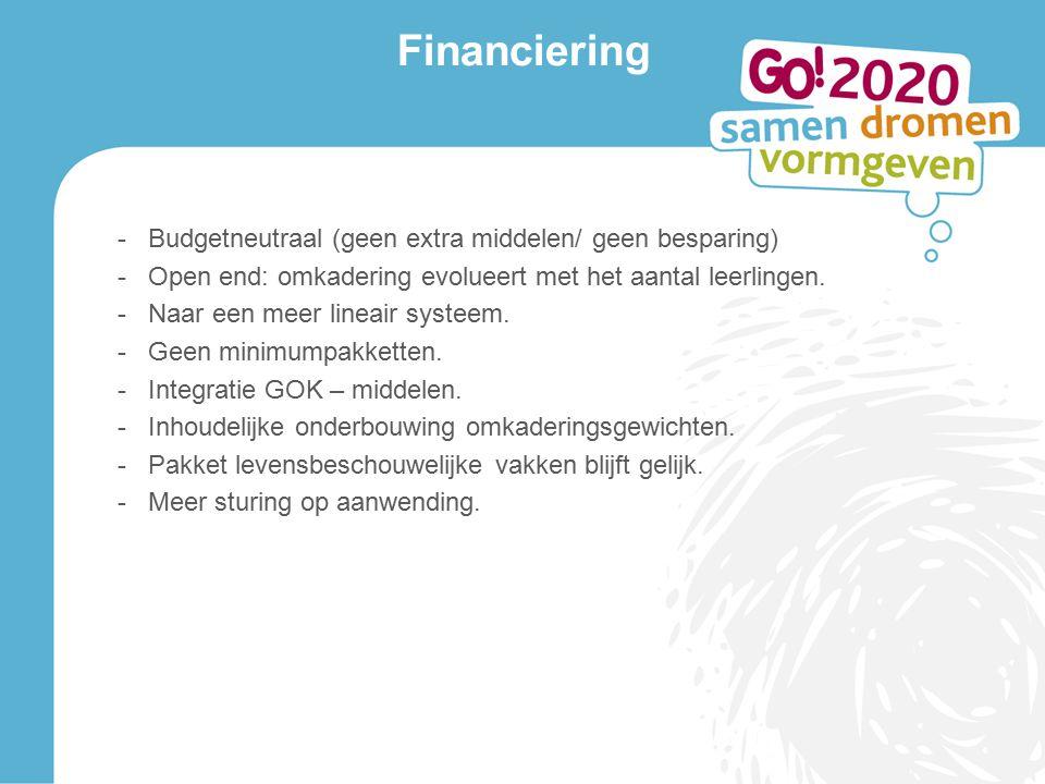 Financiering -Budgetneutraal (geen extra middelen/ geen besparing) -Open end: omkadering evolueert met het aantal leerlingen.