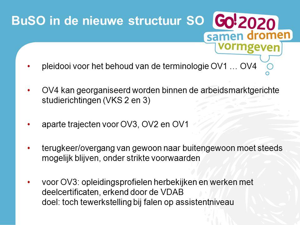 pleidooi voor het behoud van de terminologie OV1 … OV4 OV4 kan georganiseerd worden binnen de arbeidsmarktgerichte studierichtingen (VKS 2 en 3) aparte trajecten voor OV3, OV2 en OV1 terugkeer/overgang van gewoon naar buitengewoon moet steeds mogelijk blijven, onder strikte voorwaarden voor OV3: opleidingsprofielen herbekijken en werken met deelcertificaten, erkend door de VDAB doel: toch tewerkstelling bij falen op assistentniveau
