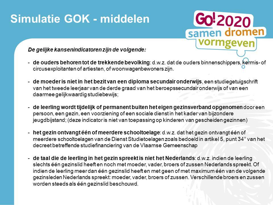 Simulatie GOK - middelen De gelijke kansenindicatoren zijn de volgende: -de ouders behoren tot de trekkende bevolking: d.w.z.