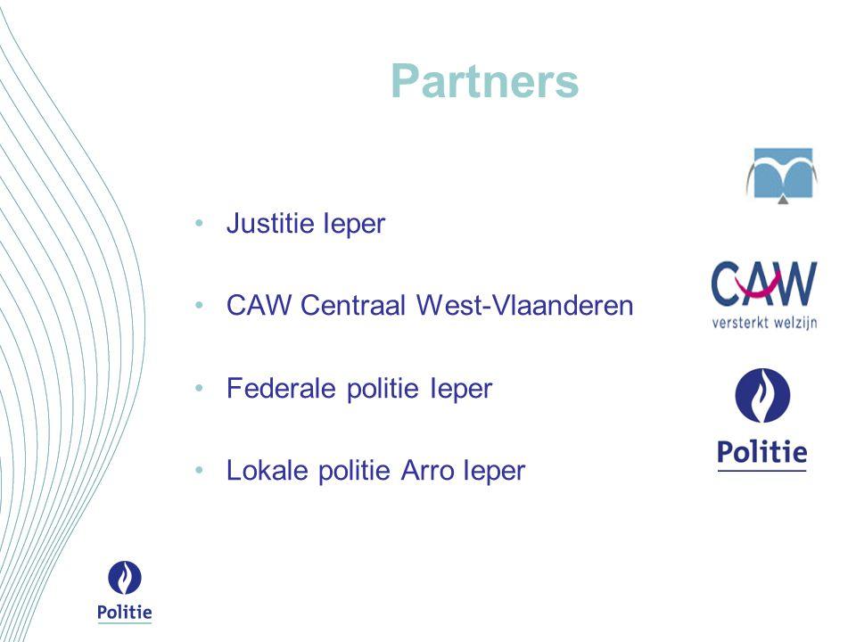 Partners Justitie Ieper CAW Centraal West-Vlaanderen Federale politie Ieper Lokale politie Arro Ieper