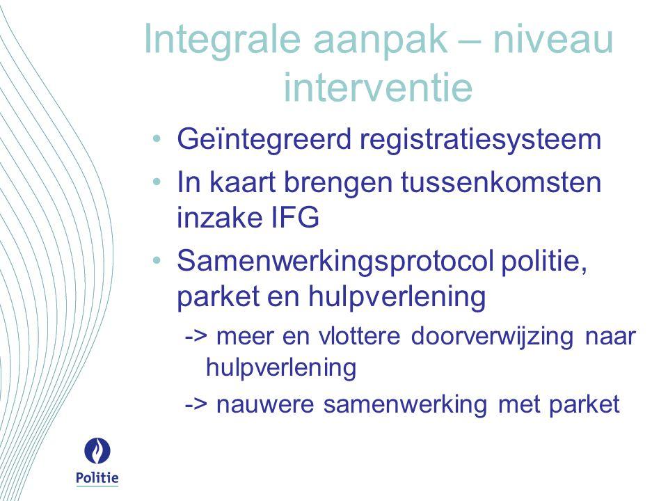 Integrale aanpak – niveau interventie Geïntegreerd registratiesysteem In kaart brengen tussenkomsten inzake IFG Samenwerkingsprotocol politie, parket