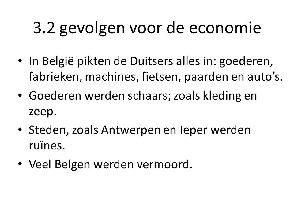 3.2 gevolgen voor de economie In België pikten de Duitsers alles in: goederen, fabrieken, machines, fietsen, paarden en auto's. Goederen werden schaar