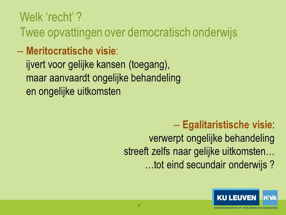 Welk 'recht' ? Twee opvattingen over democratisch onderwijs 3 – Meritocratische visie : ijvert voor gelijke kansen (toegang), maar aanvaardt ongelijke