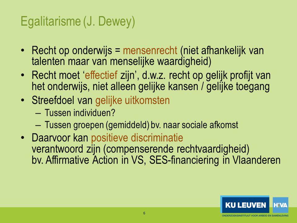 Egalitarisme (J. Dewey) 6 Recht op onderwijs = mensenrecht (niet afhankelijk van talenten maar van menselijke waardigheid) Recht moet 'effectief zijn'