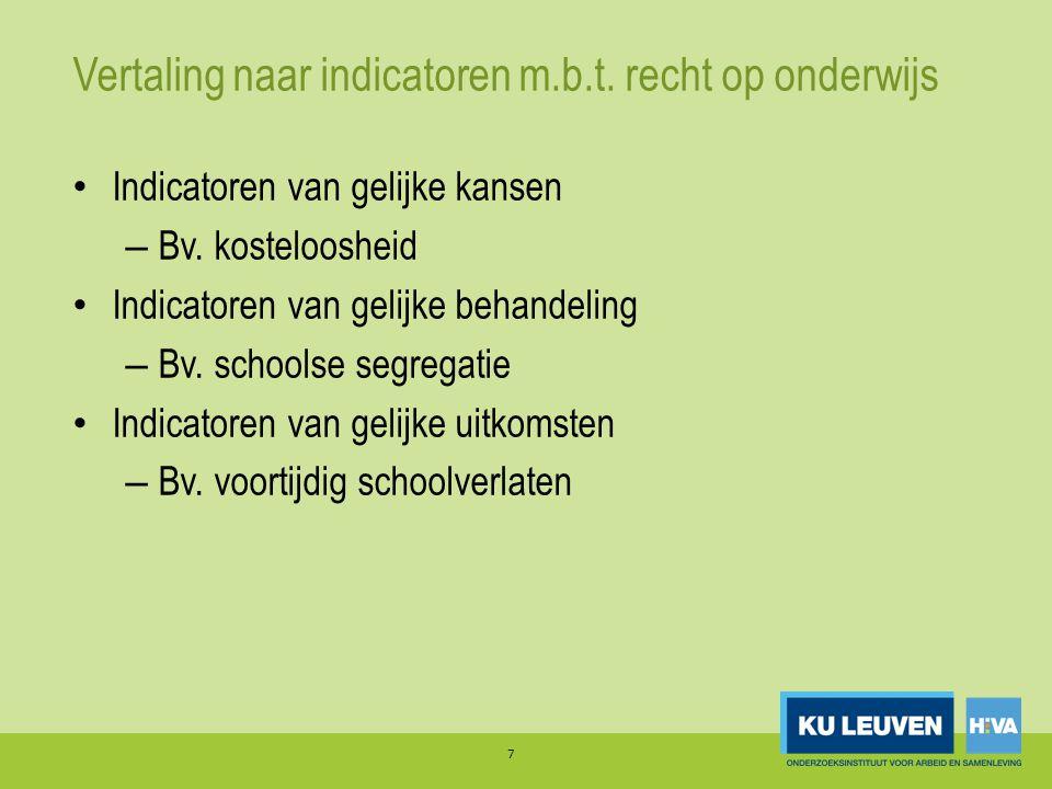 Vertaling naar indicatoren m.b.t. recht op onderwijs Indicatoren van gelijke kansen – Bv. kosteloosheid Indicatoren van gelijke behandeling – Bv. scho