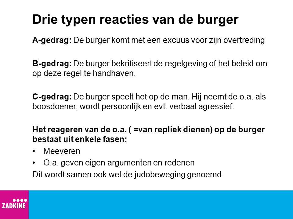 Drie typen reacties van de burger A-gedrag: De burger komt met een excuus voor zijn overtreding B-gedrag: De burger bekritiseert de regelgeving of het
