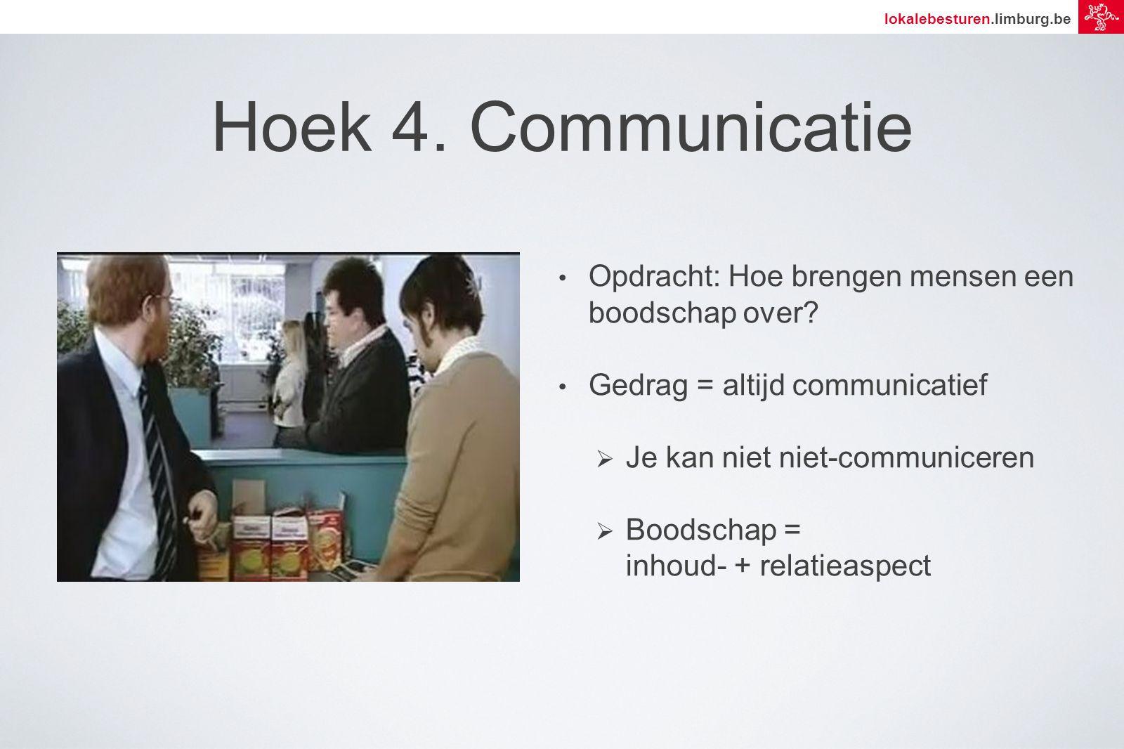 lokalebesturen.limburg.be Hoek 4. Communicatie Opdracht: Hoe brengen mensen een boodschap over.