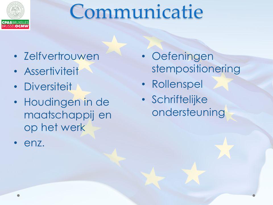 Communicatie Oefeningen stempositionering Rollenspel Schriftelijke ondersteuning Zelfvertrouwen Assertiviteit Diversiteit Houdingen in de maatschappij en op het werk enz.