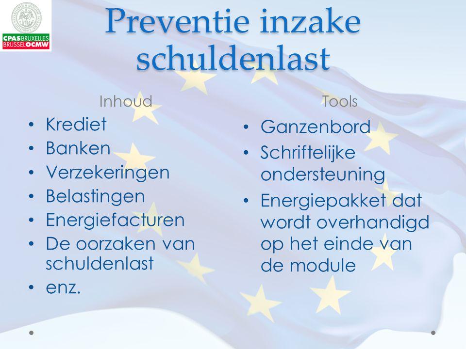 Preventie inzake schuldenlast InhoudTools Krediet Banken Verzekeringen Belastingen Energiefacturen De oorzaken van schuldenlast enz.