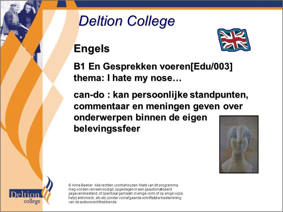 Deltion College Engels B1 En Gesprekken voeren[Edu/003] thema: I hate my nose… can-do : kan persoonlijke standpunten, commentaar en meningen geven ove
