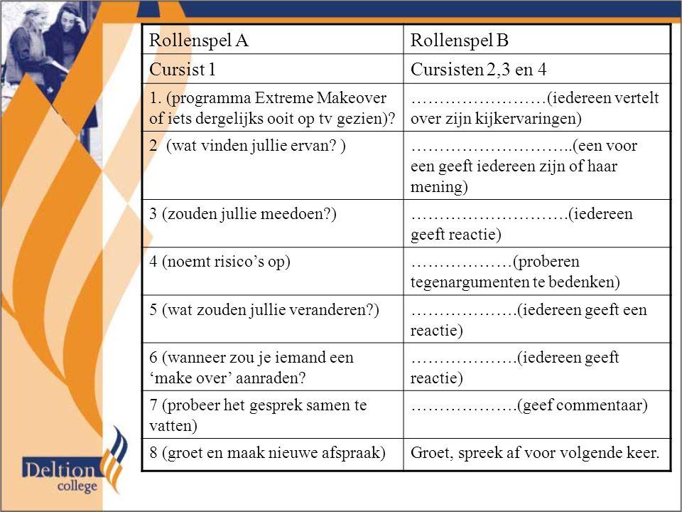 Rollenspel ARollenspel B Cursist 1Cursisten 2,3 en 4 1.
