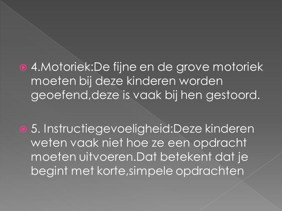  4.Motoriek:De fijne en de grove motoriek moeten bij deze kinderen worden geoefend,deze is vaak bij hen gestoord.  5. Instructiegevoeligheid:Deze ki