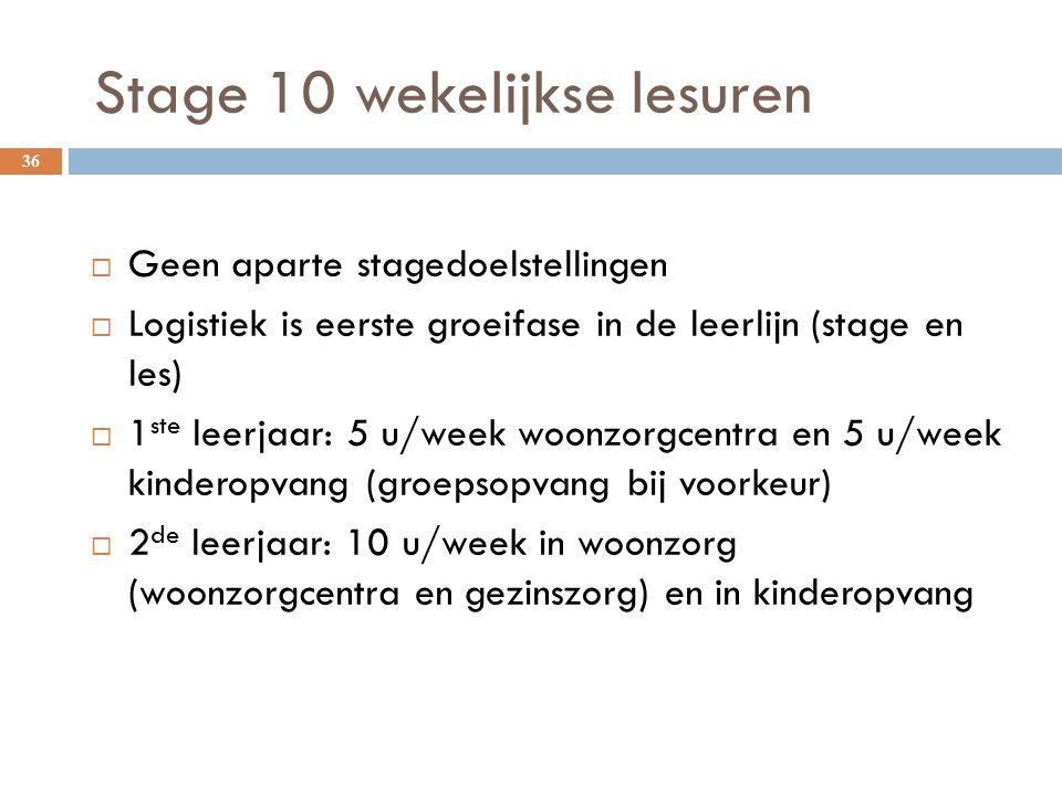 Stage 10 wekelijkse lesuren 36  Geen aparte stagedoelstellingen  Logistiek is eerste groeifase in de leerlijn (stage en les)  1 ste leerjaar: 5 u/w