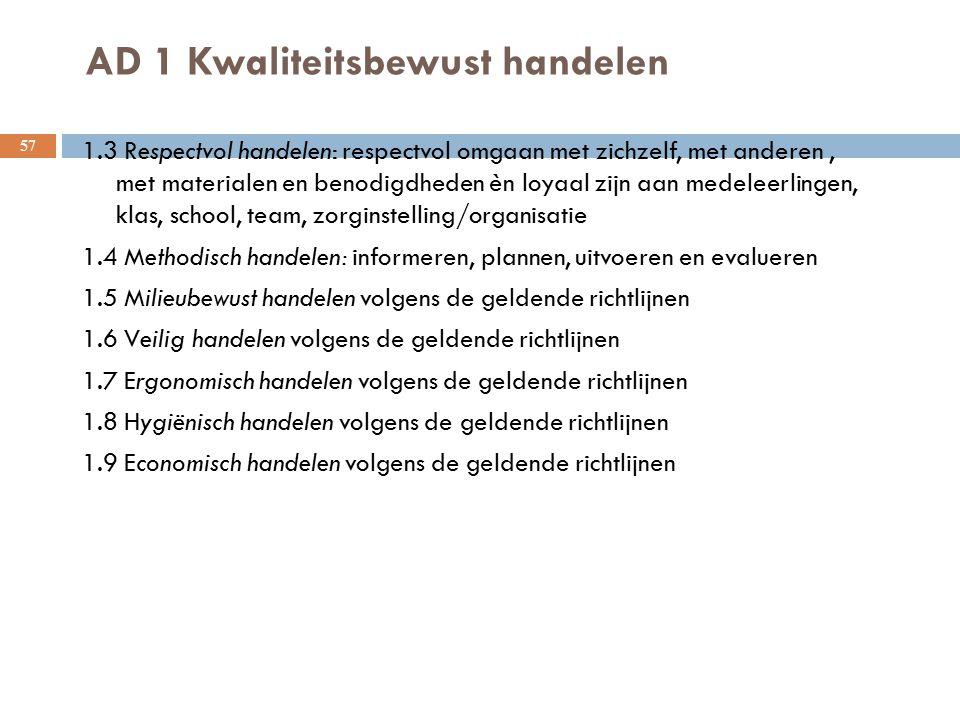 AD 1 Kwaliteitsbewust handelen 57 1.3 Respectvol handelen: respectvol omgaan met zichzelf, met anderen, met materialen en benodigdheden èn loyaal zijn