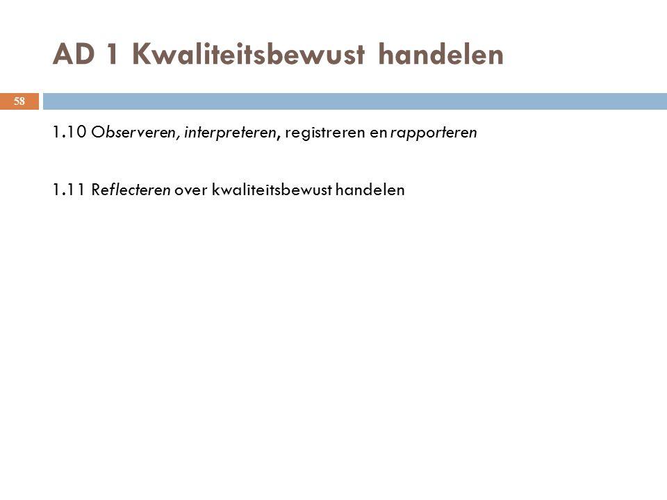 AD 1 Kwaliteitsbewust handelen 58 1.10 Observeren, interpreteren, registreren en rapporteren 1.11 Reflecteren over kwaliteitsbewust handelen