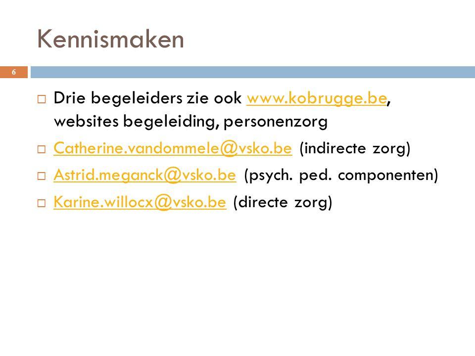 Kennismaken 6  Drie begeleiders zie ook www.kobrugge.be, websites begeleiding, personenzorgwww.kobrugge.be  Catherine.vandommele@vsko.be (indirecte