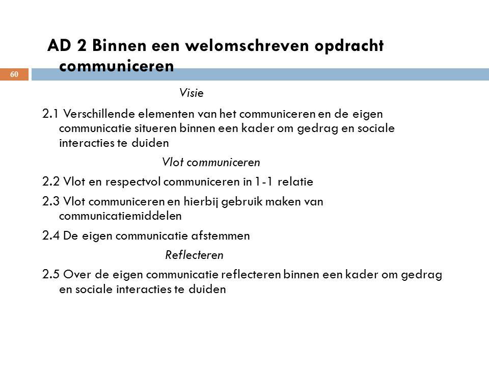 60 AD 2 Binnen een welomschreven opdracht communiceren Visie 2.1 Verschillende elementen van het communiceren en de eigen communicatie situeren binnen