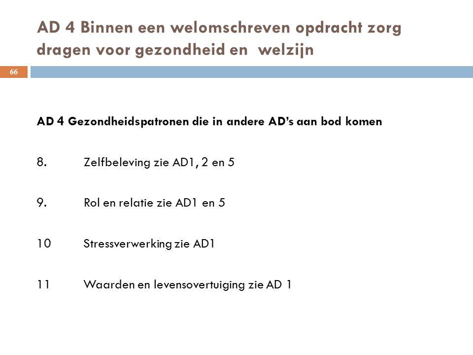 AD 4 Binnen een welomschreven opdracht zorg dragen voor gezondheid en welzijn 66 AD 4 Gezondheidspatronen die in andere AD's aan bod komen 8.Zelfbelev