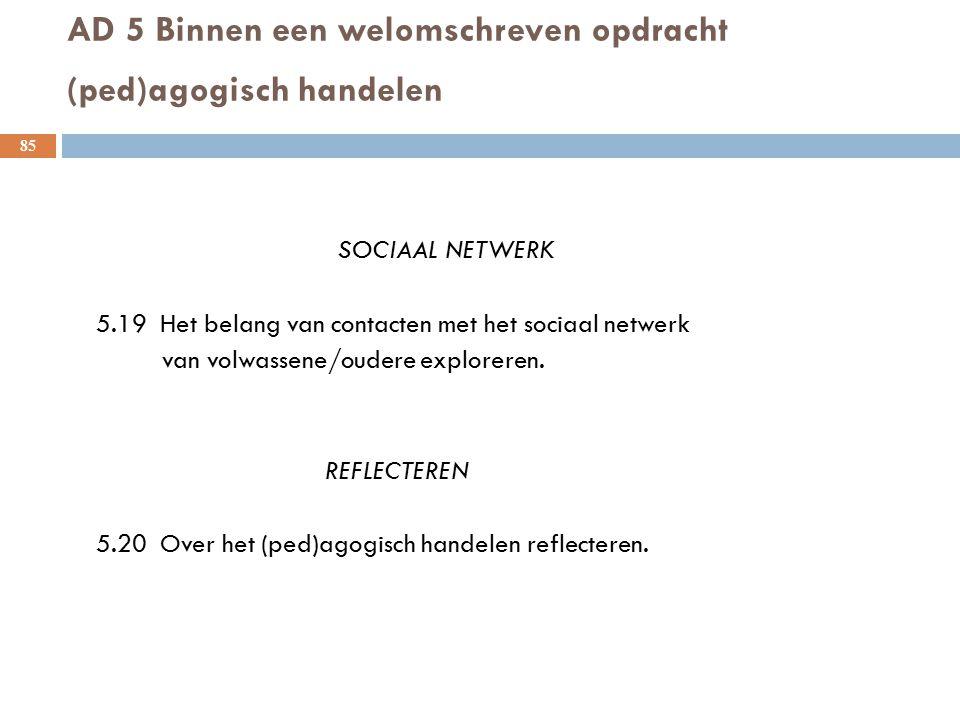 AD 5 Binnen een welomschreven opdracht (ped)agogisch handelen 85 SOCIAAL NETWERK 5.19 Het belang van contacten met het sociaal netwerk van volwassene/
