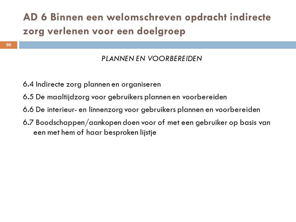 AD 6 Binnen een welomschreven opdracht indirecte zorg verlenen voor een doelgroep 90 PLANNEN EN VOORBEREIDEN 6.4 Indirecte zorg plannen en organiseren