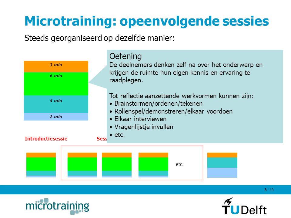/ 13 8 Microtraining: opeenvolgende sessies 3 min 6 min 4 min 2 min Steeds georganiseerd op dezelfde manier: etc. Sessies over deelonderwerpenIntroduc
