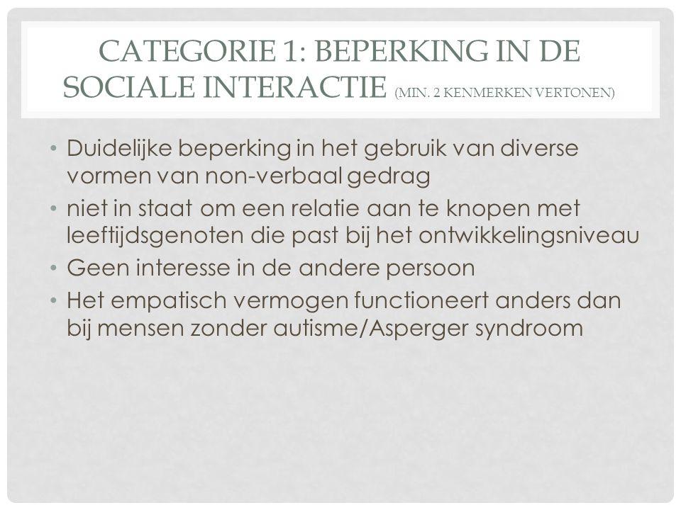 CATEGORIE 1: BEPERKING IN DE SOCIALE INTERACTIE (MIN. 2 KENMERKEN VERTONEN) Duidelijke beperking in het gebruik van diverse vormen van non-verbaal ged