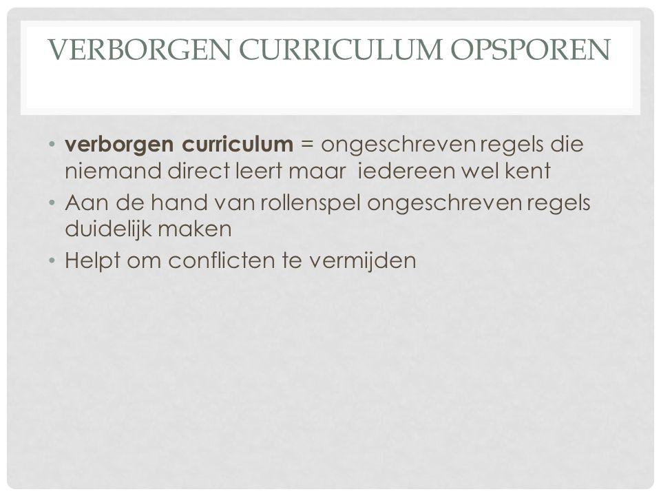 VERBORGEN CURRICULUM OPSPOREN verborgen curriculum = ongeschreven regels die niemand direct leert maar iedereen wel kent Aan de hand van rollenspel on