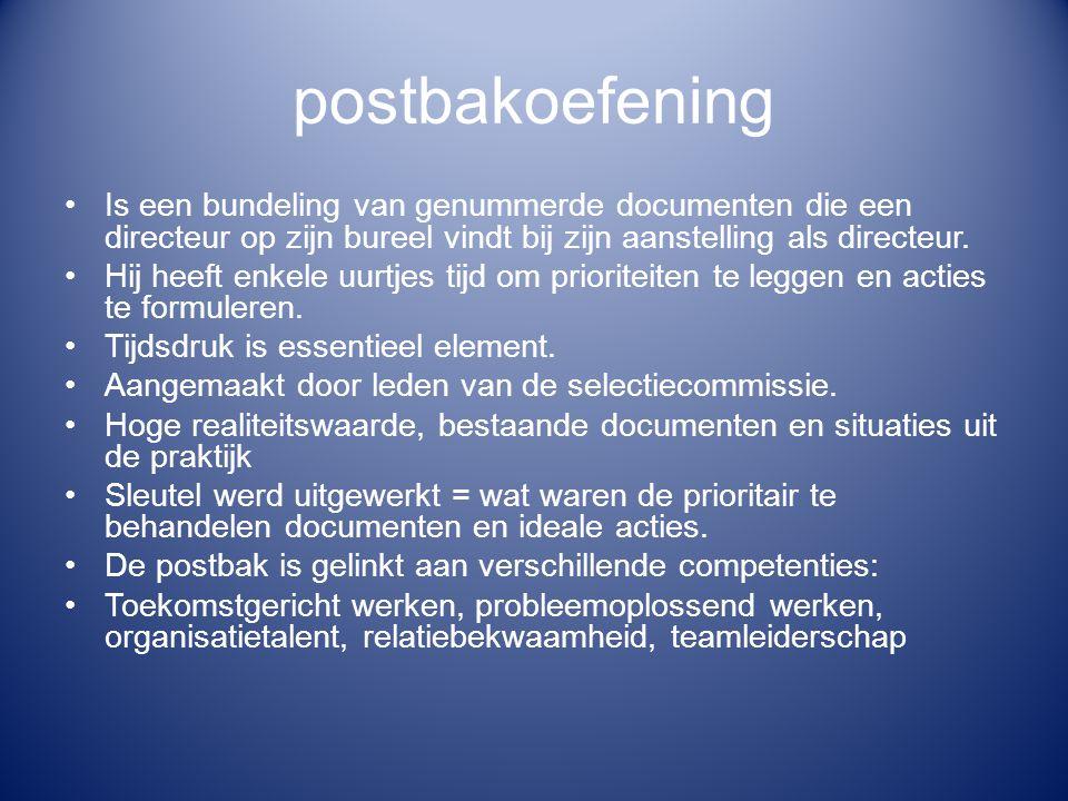 postbakoefening Is een bundeling van genummerde documenten die een directeur op zijn bureel vindt bij zijn aanstelling als directeur. Hij heeft enkele