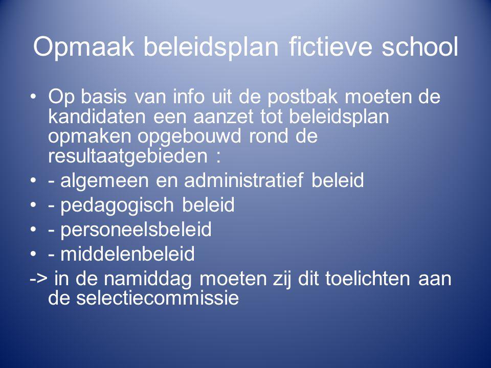 Opmaak beleidsplan fictieve school Op basis van info uit de postbak moeten de kandidaten een aanzet tot beleidsplan opmaken opgebouwd rond de resultaa