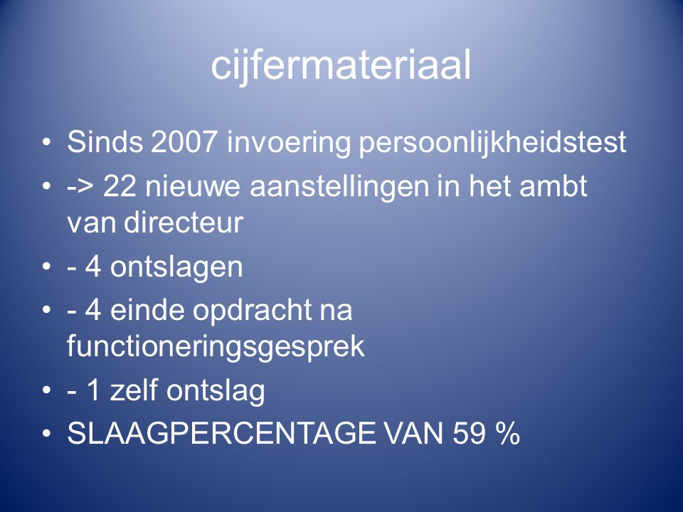 cijfermateriaal Sinds 2007 invoering persoonlijkheidstest -> 22 nieuwe aanstellingen in het ambt van directeur - 4 ontslagen - 4 einde opdracht na fun
