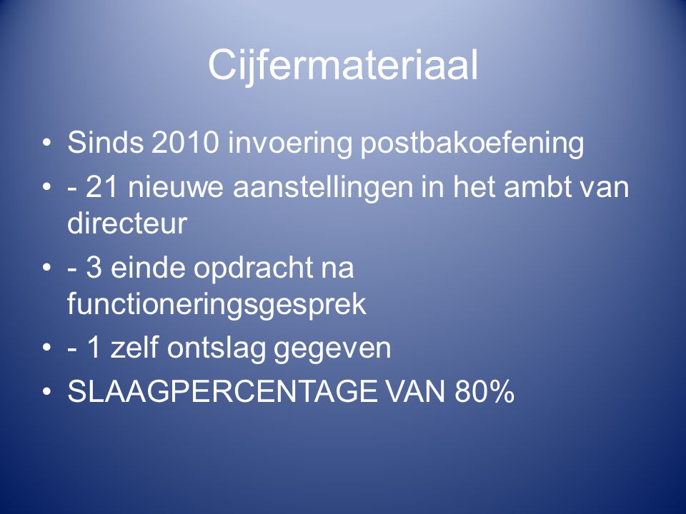 Cijfermateriaal Sinds 2010 invoering postbakoefening - 21 nieuwe aanstellingen in het ambt van directeur - 3 einde opdracht na functioneringsgesprek -