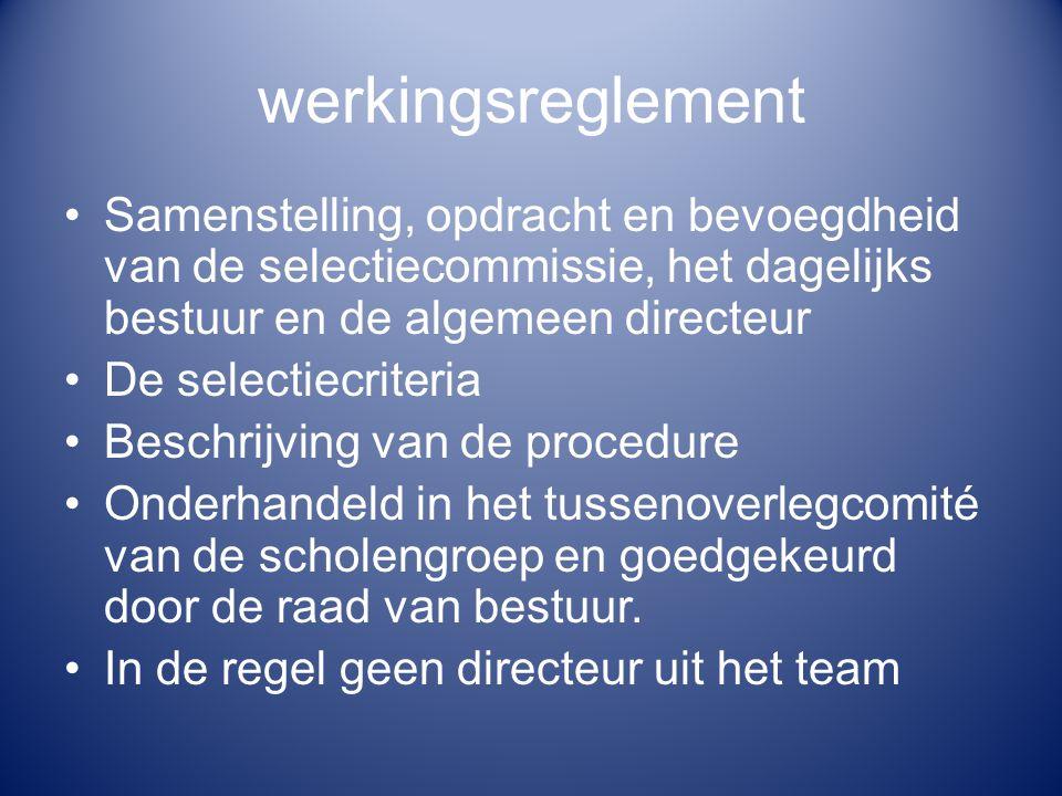 werkingsreglement Samenstelling, opdracht en bevoegdheid van de selectiecommissie, het dagelijks bestuur en de algemeen directeur De selectiecriteria