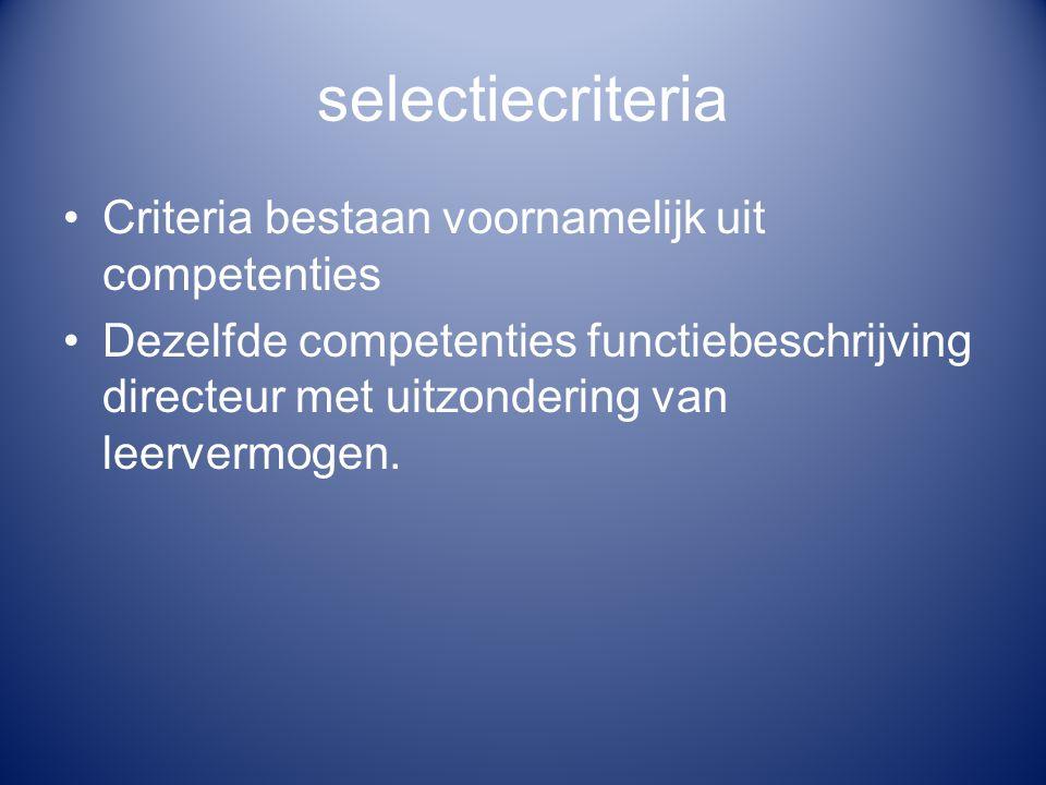 selectiecriteria Motivering van de kandidatuurstelling voor de concrete betrekking Toekomstgericht werken Probleemoplossend werken Resultaatgerichtheid Teamleiderschap Bezieling Organisatietalent Overtuigingskracht Relatiebekwaamheid Flexibiliteit