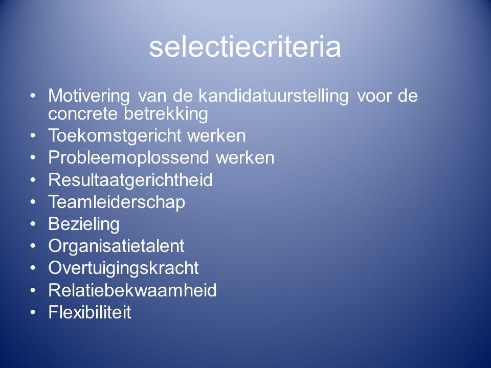 selectiecriteria Motivering van de kandidatuurstelling voor de concrete betrekking Toekomstgericht werken Probleemoplossend werken Resultaatgerichthei