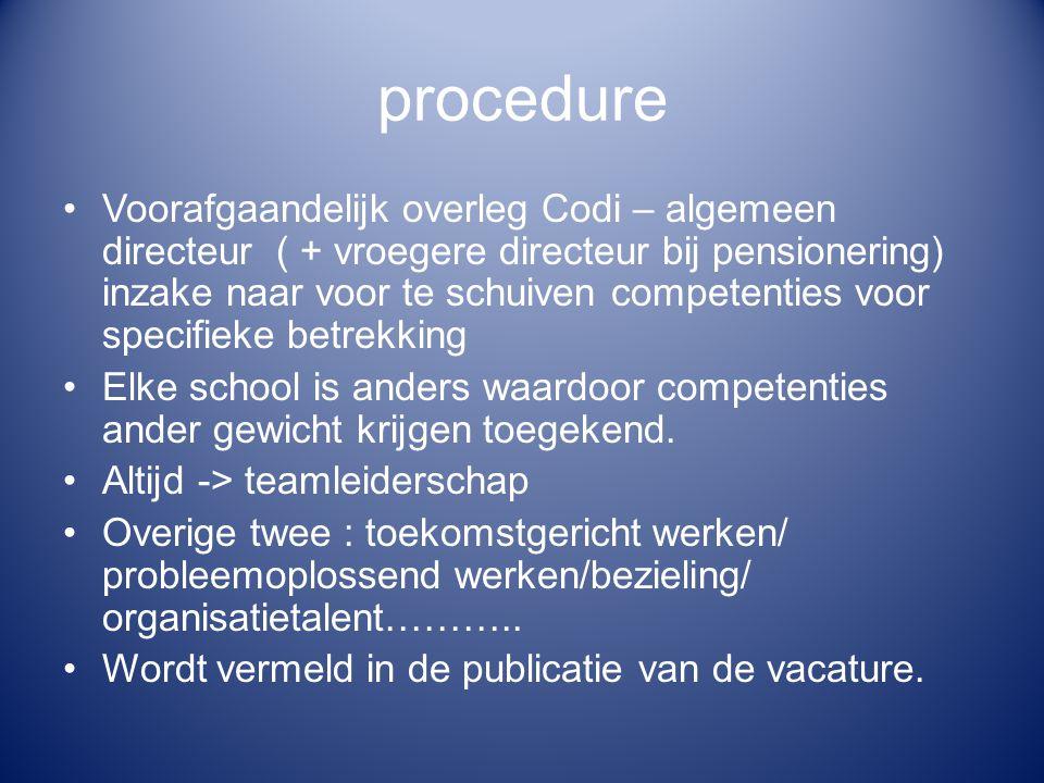 procedure Vacature : naar voor geschoven competenties Beschikken over VE – titel voor het ambt Minimaal 5 jaar relevante beroepservaring -> bij kandidatuurstelling : CV+copie diploma+ bewijs relevante beroepservaring.
