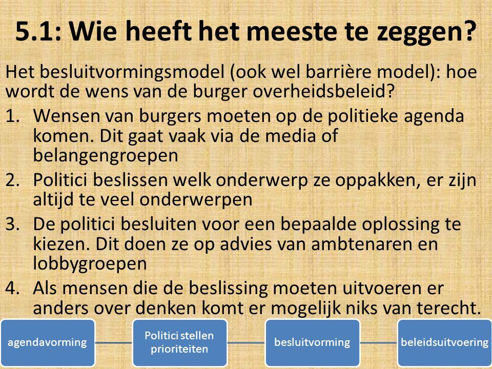 5.1: Wie heeft het meeste te zeggen? Het besluitvormingsmodel (ook wel barrière model): hoe wordt de wens van de burger overheidsbeleid? 1.Wensen van