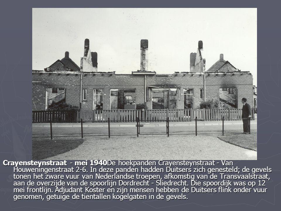 Crayensteynstraat - mei 1940De hoekpanden Crayensteynstraat - Van Houweningenstraat 2-6. In deze panden hadden Duitsers zich genesteld; de gevels tone