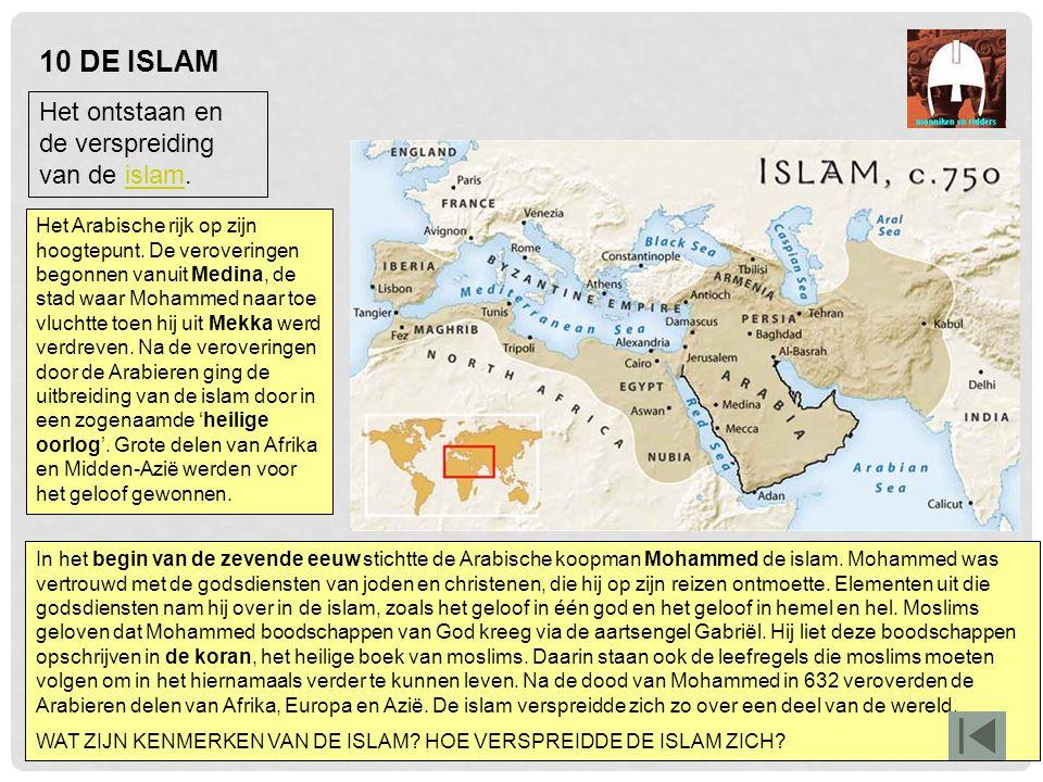 In het begin van de zevende eeuw stichtte de Arabische koopman Mohammed de islam. Mohammed was vertrouwd met de godsdiensten van joden en christenen,
