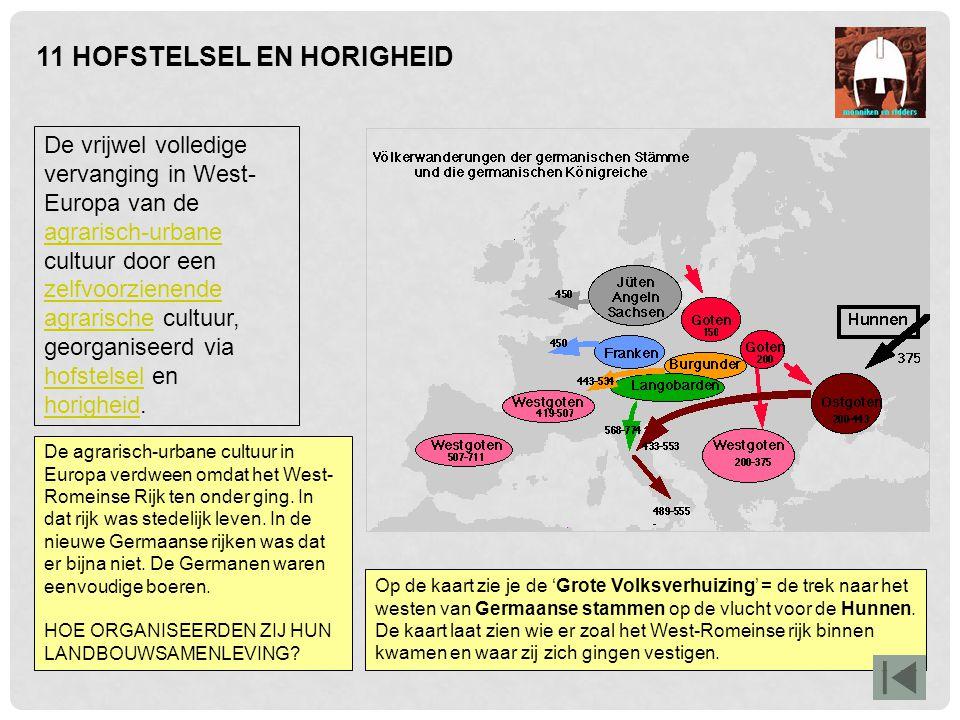 Op de kaart zie je de 'Grote Volksverhuizing' = de trek naar het westen van Germaanse stammen op de vlucht voor de Hunnen. De kaart laat zien wie er z