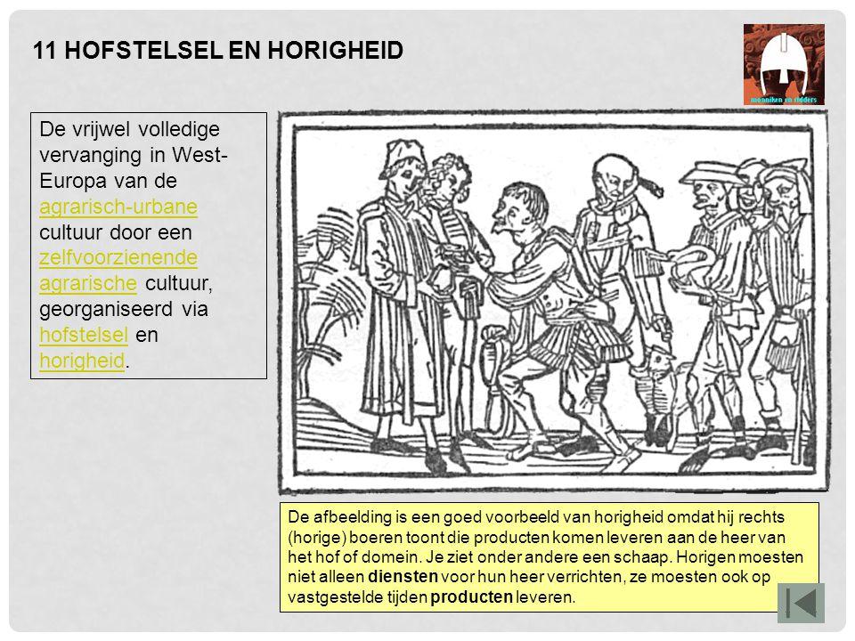 11 HOFSTELSEL EN HORIGHEID De vrijwel volledige vervanging in West- Europa van de agrarisch-urbane cultuur door een zelfvoorzienende agrarische cultuu